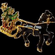 Vintage Christmas Austrian Rhinestone Black Horse Drawn Sleigh Pin Brooch ~Red Green Enamel 18K Gold Overlay