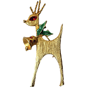 Mylu Christmas Deer Brooch Pin, Vintage Art Deco with Bell Deer, RARE Collectors Signed BOOK PIECE~ Ships Free
