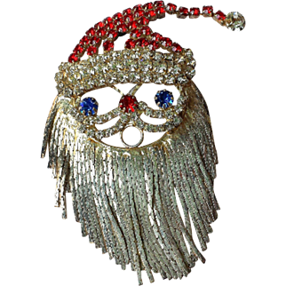 Vintage Christmas Rhinestone Santa Brooch Pin~Blue eyed Santa Dangling Silver Chain Beard COLLECTORS PIECE