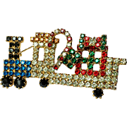Vintage Christmas Train brooch multi-colored Rhinestone Locomotive  with Candy Cane Gifts~ COLLECTORS PIECE