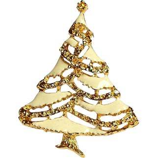 White Enamel Christmas Tree Brooch with Roping in 22k Gold Overlay, Elegant Vintage Beauty~FREE USA SHIPPING