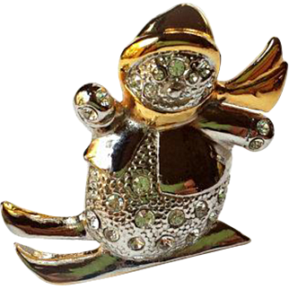 Vintage Swarovski Rhinestone Snowman on Skis Brooch Signed ROMA~ Christmas Silver, Gold, Pave Crystals ~Signed VINTAGE BEAUTY !