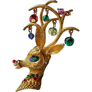 MYLU Christmas Deer Rudolph Brooch 22K Textured Gold Plate Dangle Beads~ Large Antlers 3 Inches ~ BOOKPIECE