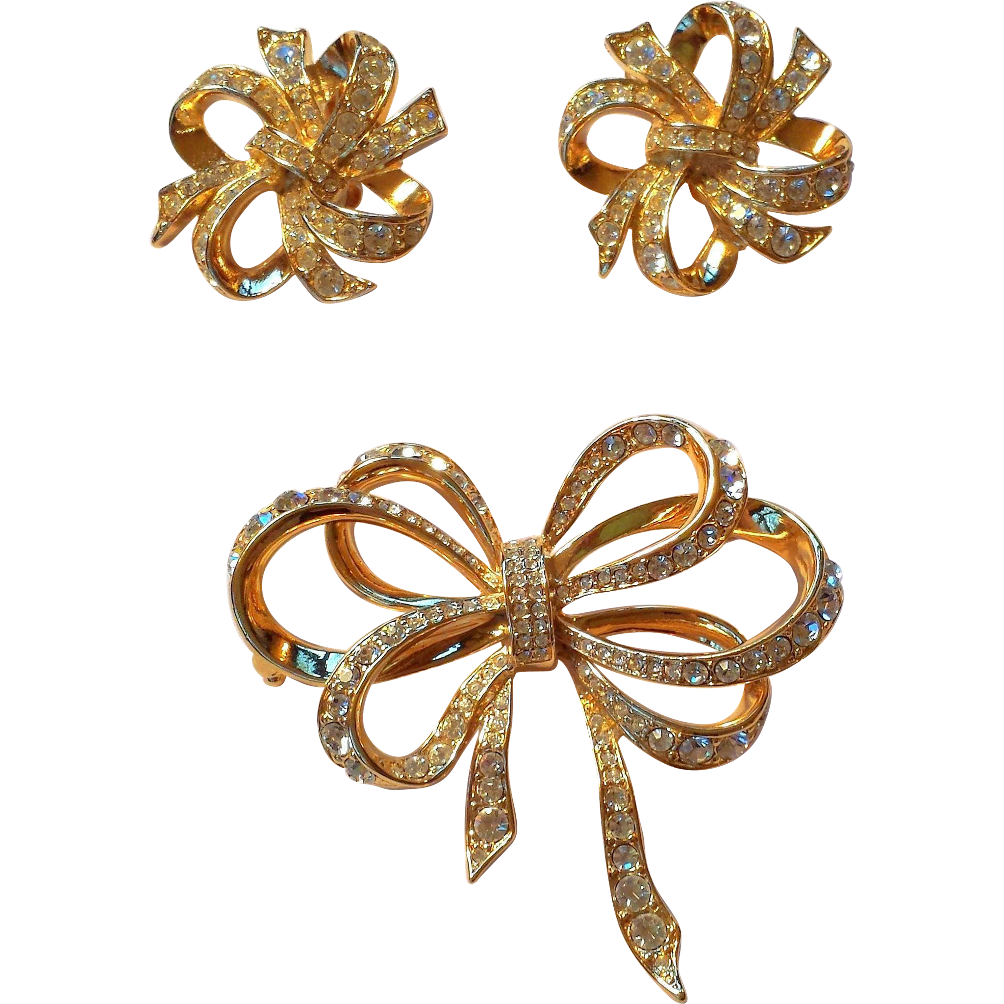 Kenneth Jay Lane Earring Brooch Set SWAROVSKI AB Crystals, 22K  Gold Plate AVON Collection BOOK PIECE