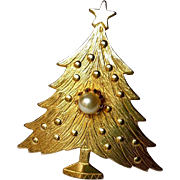 Vintage Gold Faux Pearl ChristmasTree Brooch Embossed ~ Simply Elegant