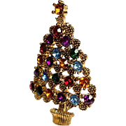 Vintage Rhinestone Christmas Tree Brooch Multi Color Austrian Rhinestones Antique 22k Gold Plate setting~ VINTAGE BEAUTY !