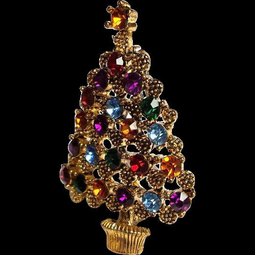 Vintage Rhinestone Christmas Tree Brooch Multi Color Austrian Rhinestones Antique 22k Gold Plate setting~ VINTAGE BEAUTY !