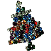 Rhinestone Christmas Tree Pin, Rhodium Setting, Multi-color prong Set Austrian Rhinestones, Articulated Garland, Vintage BEAUTY !