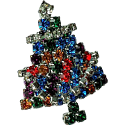 Vintage Rhinestone Christmas Tree Pin/ Brooch Prong Set, Multi-color Blue Rhinestones Articulated Crystal Garland ~Rhodium Plate Setting~ EXCEPTIONAL !