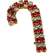 Vintage Christmas Rhinestone Candy Cane Brooch Austrian Prong Set Rhinestones~ Ruby Red & Crystal 22 K Gold Overlay Long 2 inch  BEAUTY !