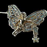 Signed Kirk's Folly Fairy Cherub Butterfly Brooch, Swarovski Crystal AB Rhinestone Wings, Dangling Stars ~ BEAUTIFUL !