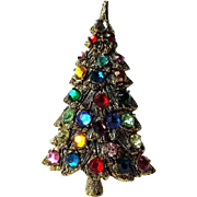 Vintage Christmas Tree Pin/Brooch Multi-color Rhinestones Antiqued Gold Setting~  VINTAGE BEAUTY !
