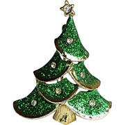 Vintage Christmas Tree Pin/Brooch Green Glitter, 22k Gold Overlay, Crystal Star Rhinestone - VINTAGE BEAUTY !