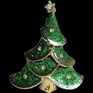 Vintage Christmas Tree Pin/Brooch Green Glitter, 22k Gold Overlay, Crystal Star Rhinestone - VINTAGE BEAUTY !