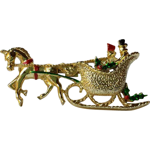 Vintage Christmas Horse & Sleigh Brooch textured gold overlay and enamel. Signed GERRY Collectors Book piece