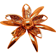 Vintage Copper Stacked Flower Pin~ Perfect