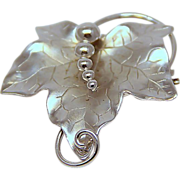 Signed Carl - Art Solid Sterling Vine Leaf Pendant Brooch