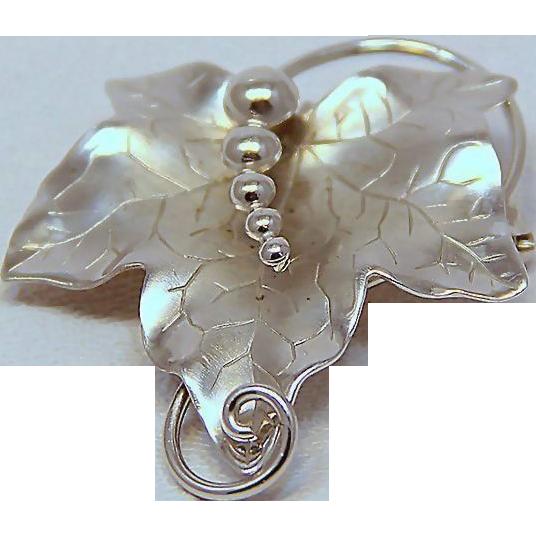Signed Carl - Art Solid Sterling Vine Leaf Pendant Brooch
