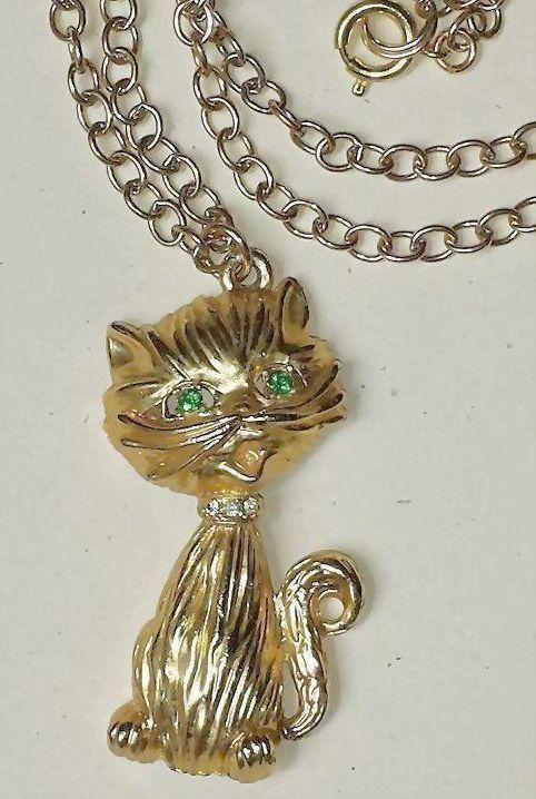 Vintage 18K gold plate Cat Pendant Necklace, 24 inch Vintage Unused Gold~Plate Chain