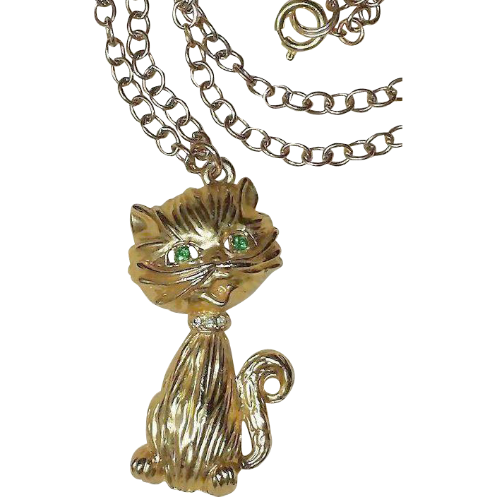 Vintage Kitty Cat Rhinestone 18K Gold~Plated Pendant~ 24 in Vintage UN~used Gold~Plated Chain