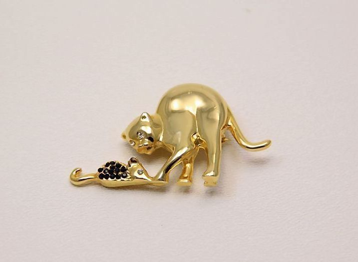 Vintage 24 K gold~plated Cat Mouse Pin Brooch Black Rhinestones~ A BEAUTY !