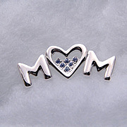Vintage Heart MOM Pin, UN-used Vintage, Rhodium-Plated Silver, Blue Austrian Rhinestones