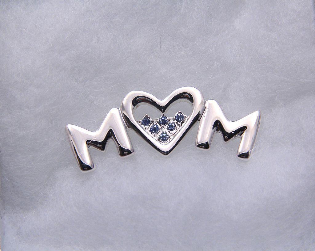 Vintage Heart MOM Pin, UN-used Vintage, Rhodium-Plated Silver, Blue Austrian Rhinestones