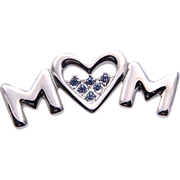 Heart MOM Pin, Rhodium-Plated Silver, Blue Austrian Rhinestones Brooch UN-Used ~ High Quality Vintage