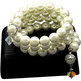 JAPAN  Glass Pearl Bracelet  12 mm  Multiple Stands AB Crystals ~ Vintage NEW uncirculated