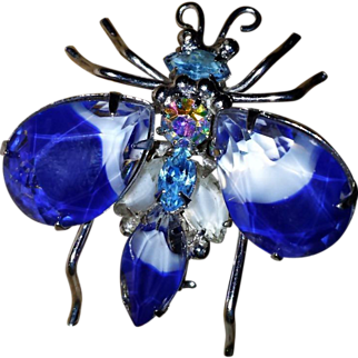Vintage Insect Givre Pin Brooch Art Glass Blue White Faceted AB Rhinestone UNUSUAL~ GORGEOUS~