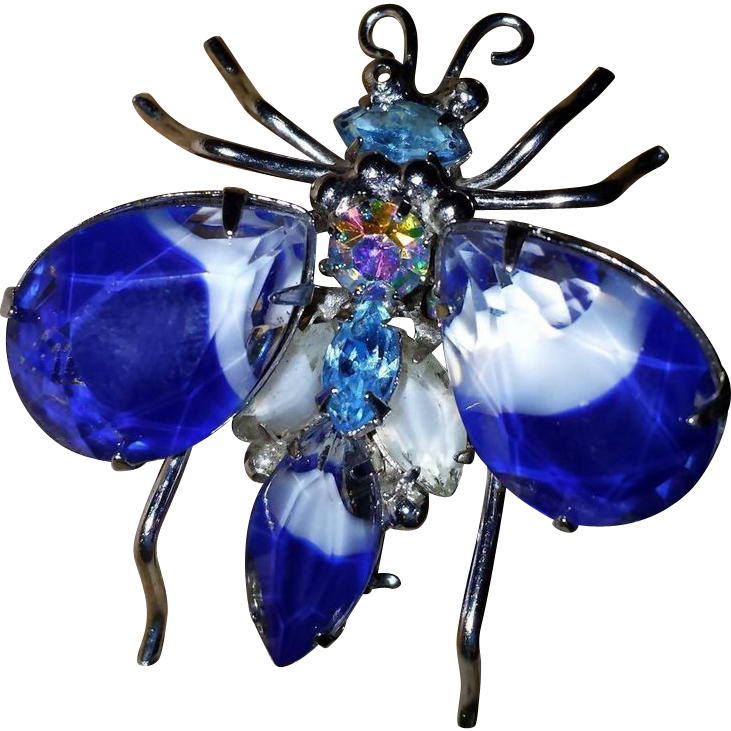 Vintage Insect Pin Brooch Givre Art Glass Blue White Faceted AB Rhinestone UNUSUAL~ GORGEOUS~