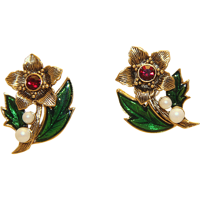 Vintage Avon Christmas Poinsettia Faux Pearl Earrings Guilloche Ename~10K Antiqued Gold ~Plated Red Rhinestones ~UN-Used EXCELLENT