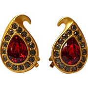 Napier Swarovski Ruby Pear Rhinestone Earrings 22k Matte Gold~Plate