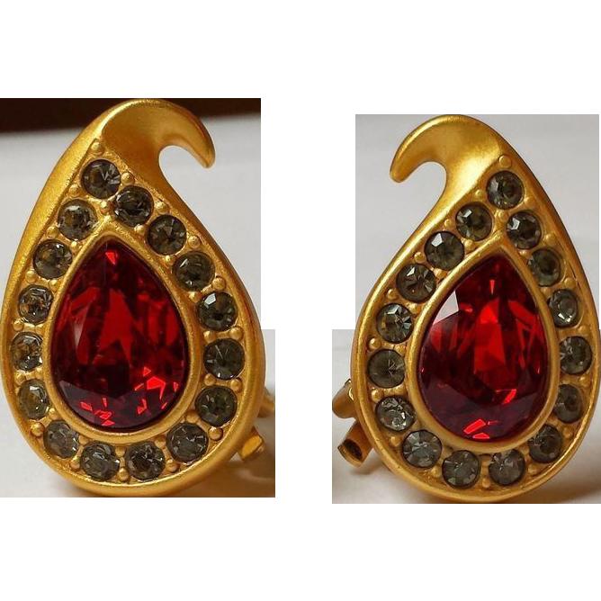 Napier Swarovski Ruby Pear Rhinestone Earrings 22k Matte Gold~Plate