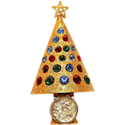 Hattie Carniegie Christmas Light Up Tree Pin Brooch Collectors BOOK PIECE