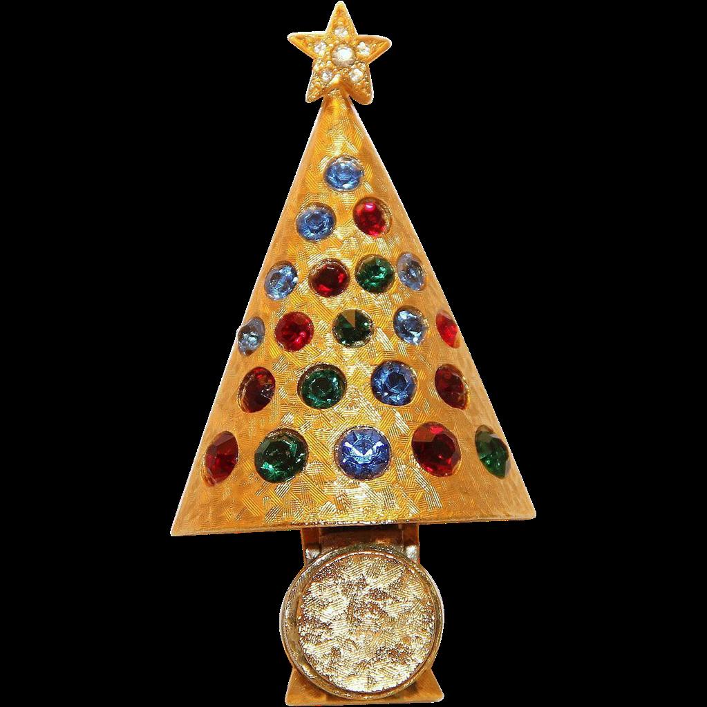 Hattie Carniegie Christmas Light Up Tree Pin Brooch Collectors BOOK PIECE