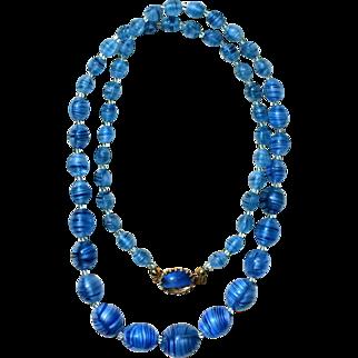 Vintage AUSTRIA Blue GIVRE Art Glass Bead Necklace~ a BEAUTY