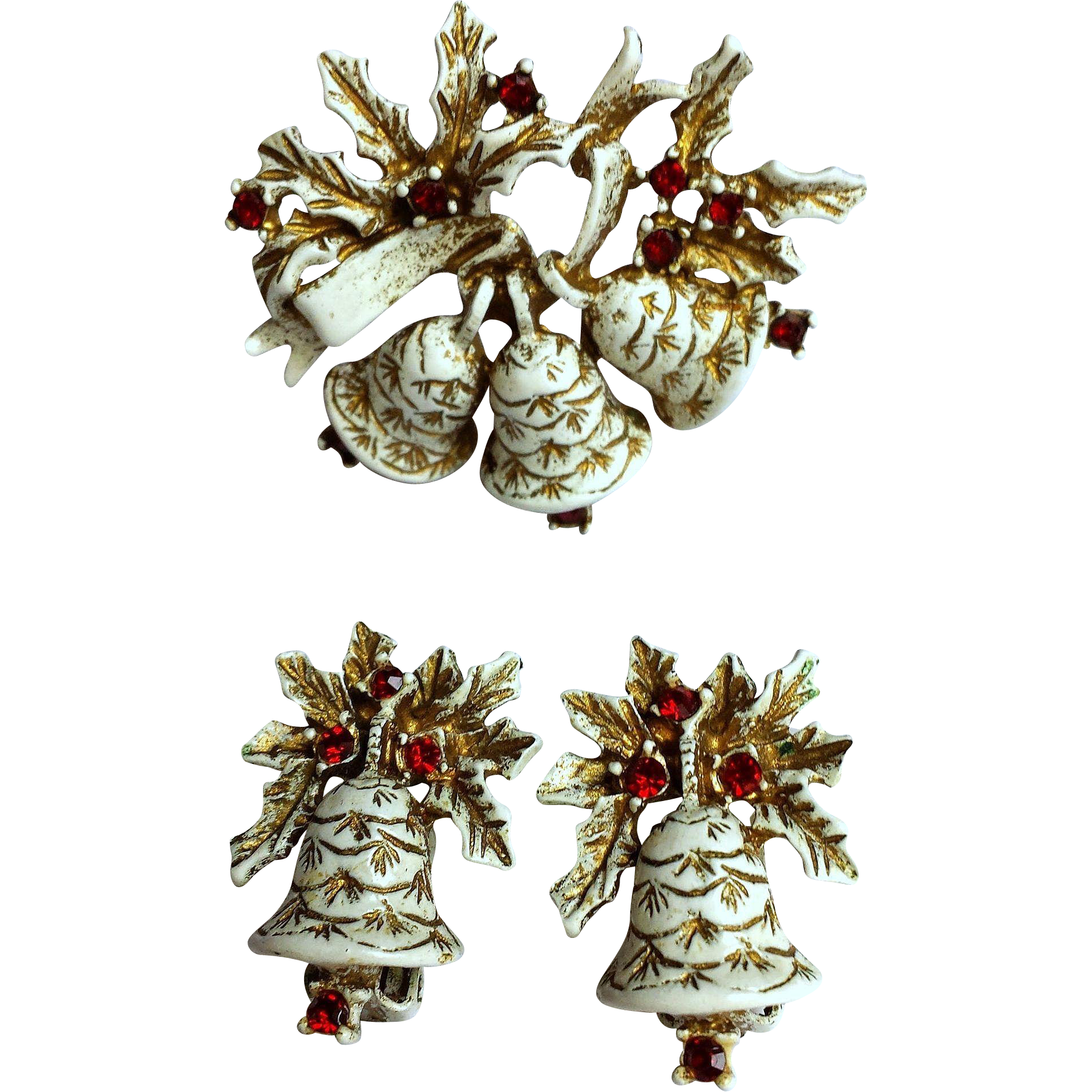 DODDS White Christmas Bell Brooch Pin Earrings Set White Gold ~ Collectors BOOK PIECE