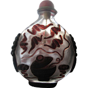 "Large, 4.5"" 19th Century Chinese Overlay Glass Snuff Bottle"