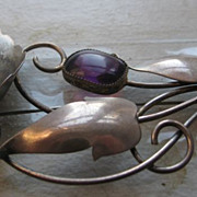 Sterling silver and amethyst brooch
