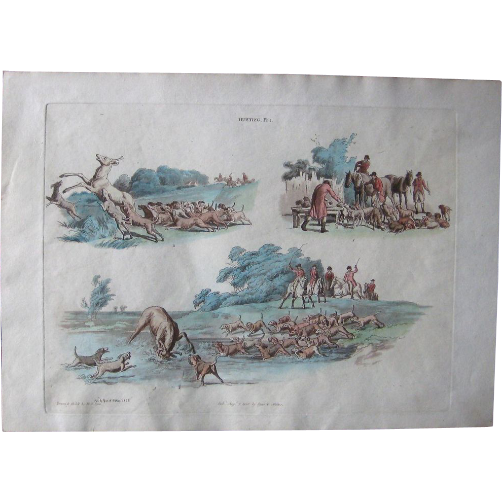 Hunting Scene: 1806 W.H. Pyne Etching with Aquatint