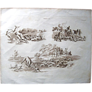 1824 W.H. Pyne hunting etching w/aquatint
