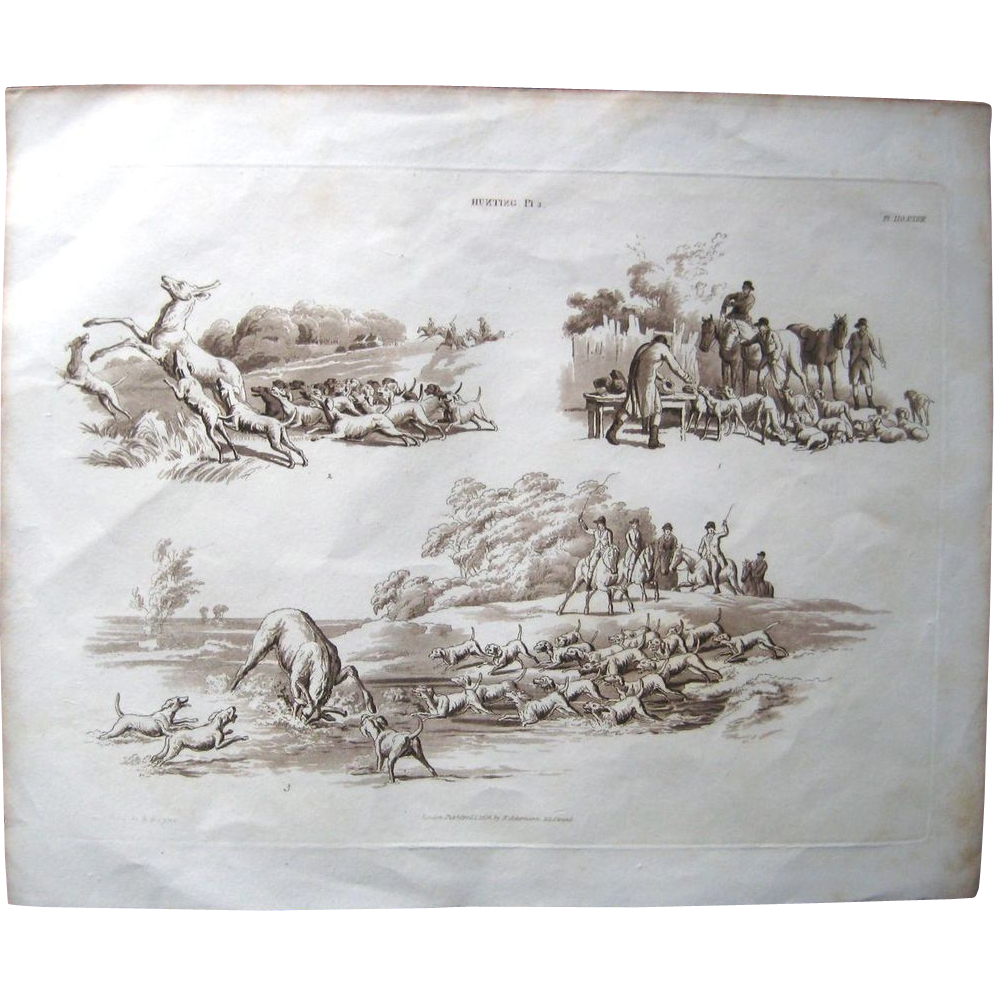 1824 W.H. Pyne hunting etching w/aquatint