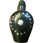 Snuff Bottle: Carved horn and silver inlay, 1850-1899
