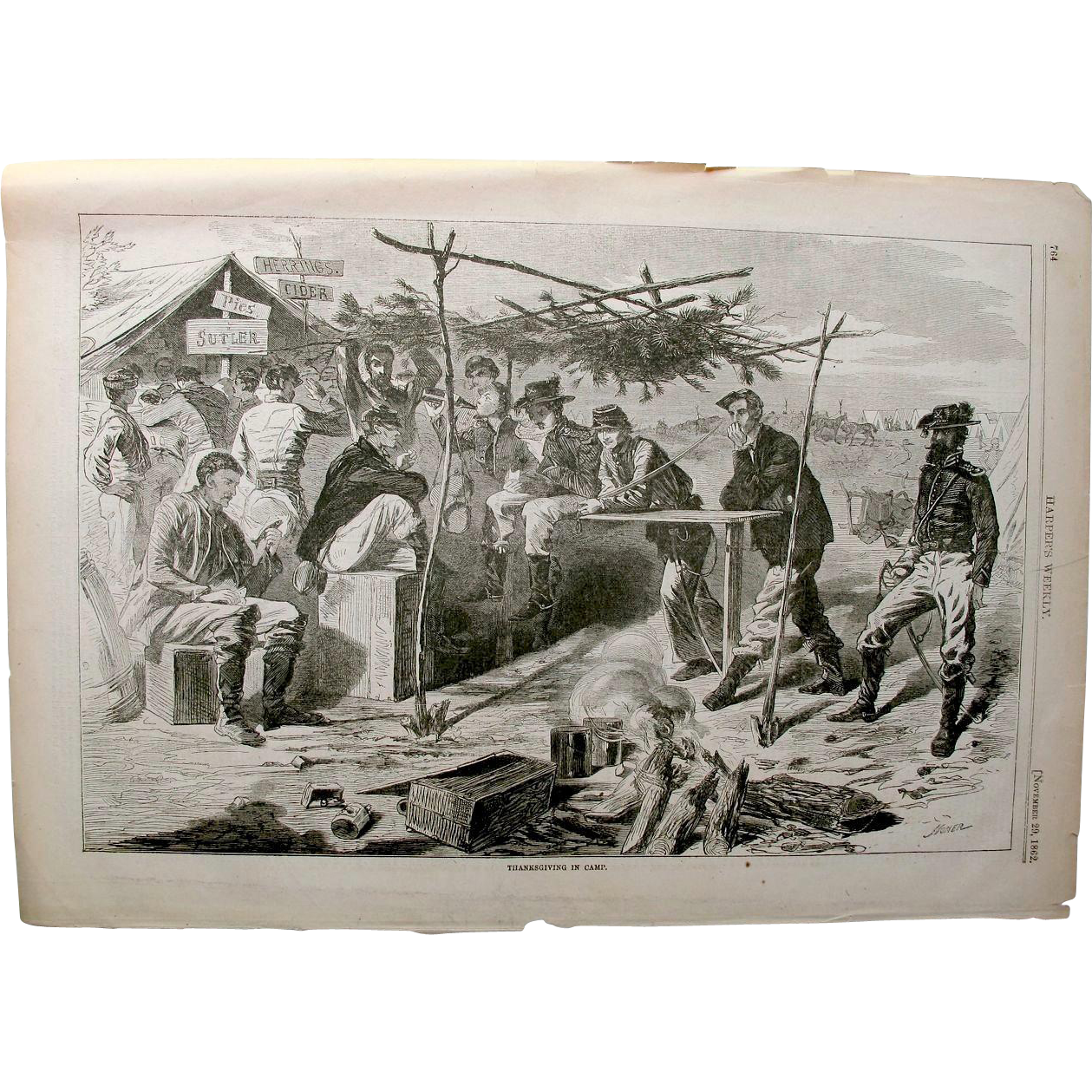 "Winslow Homer 1862; Harper's Weekly ""Thanksgiving in Camp""."
