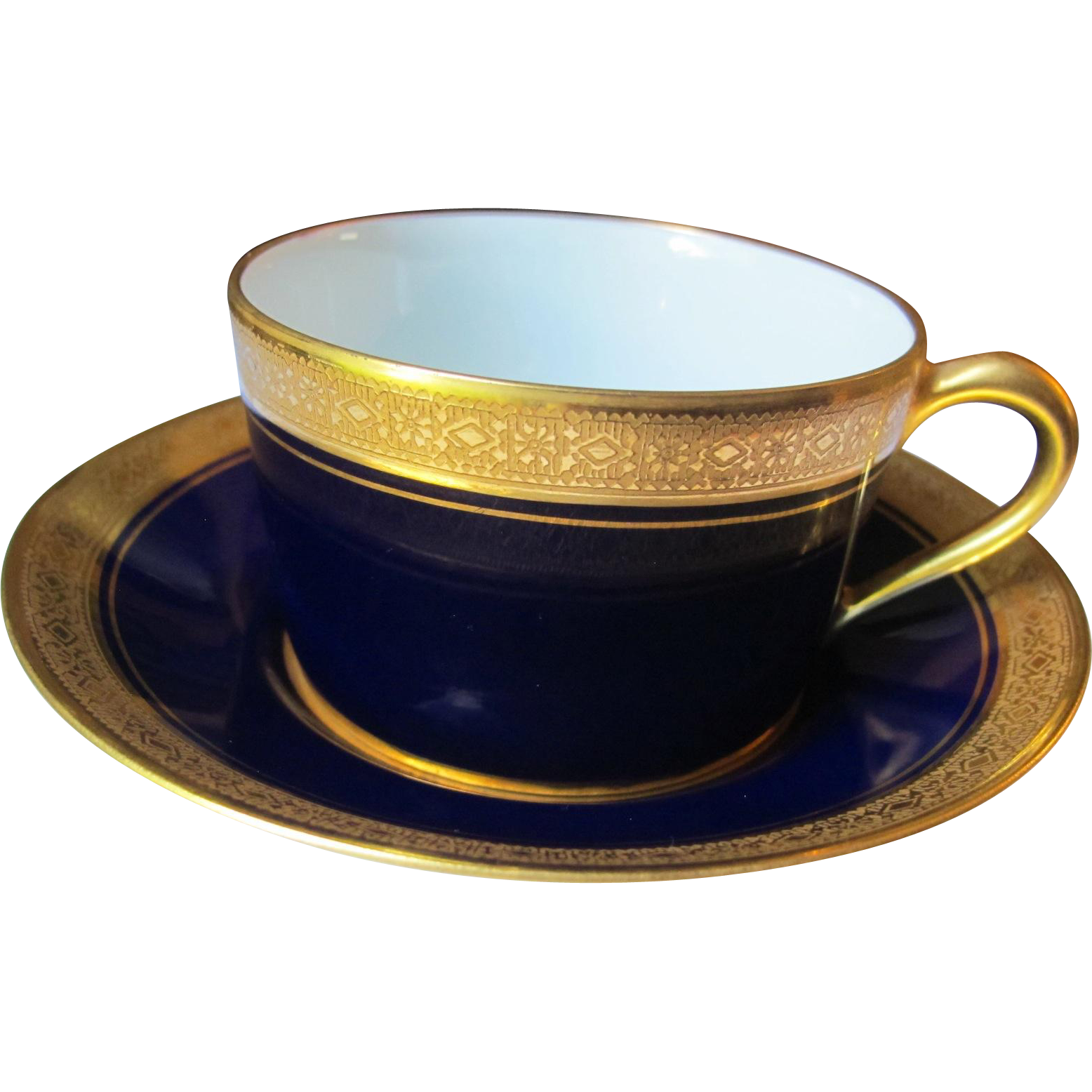 Beautiful cobalt and double gilded Prevot Andre Limoges cup and saucer