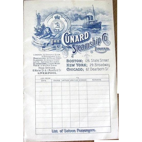Cunard: R.M.S. Ivernia Aug. 1, 1905