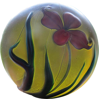 Small Glass paper weight with flower