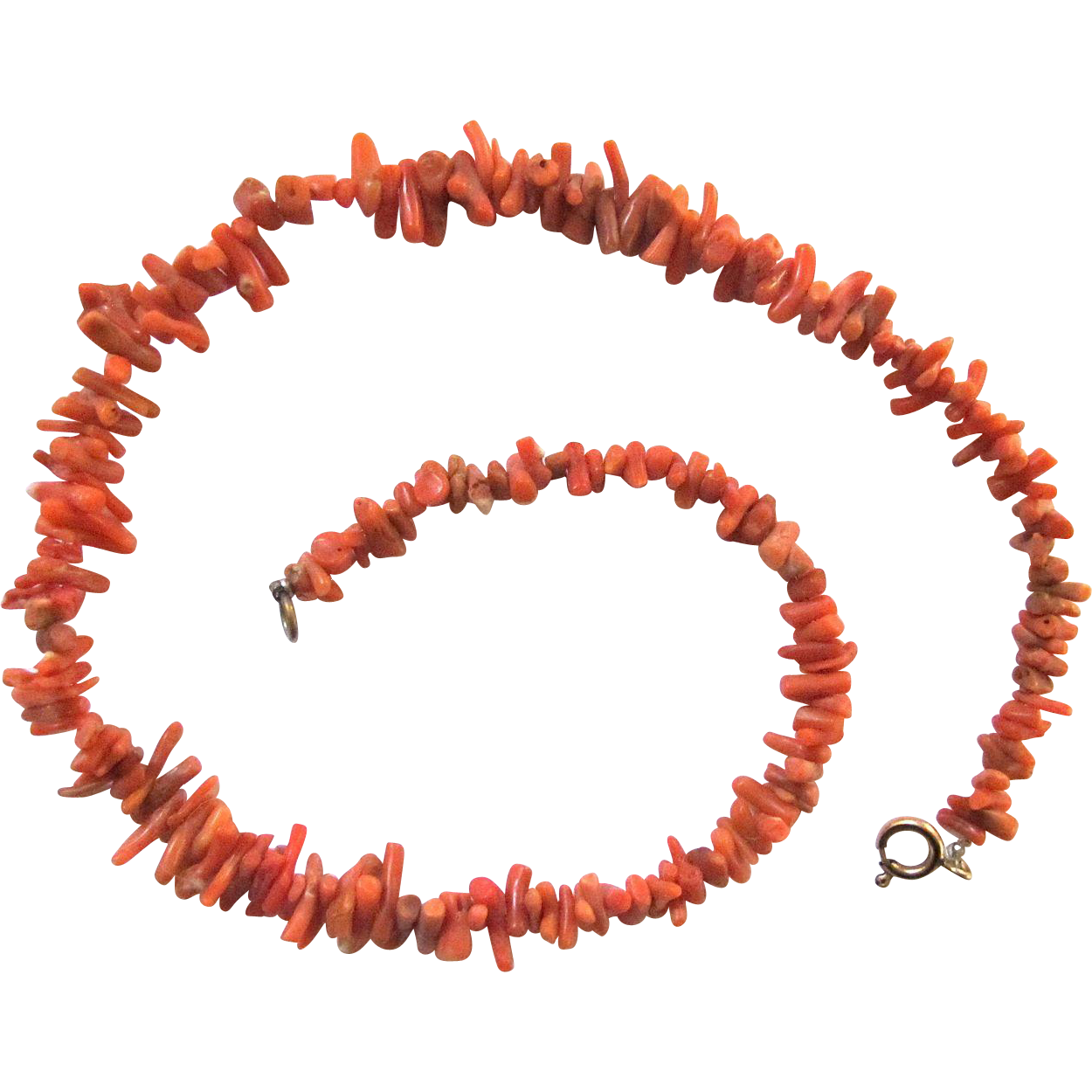 Vintage natural undyed red coral necklace