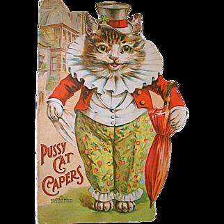 Scarce Louis Wain die-cut, cat shaped, 'Pussy Cat Capers'. pub. McLoughlin Bros.